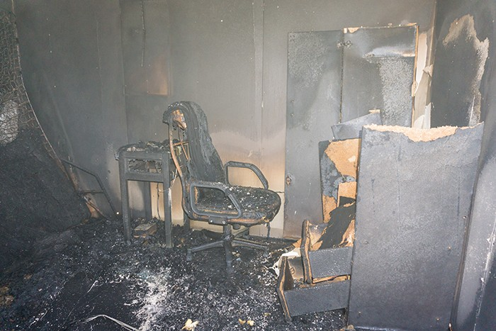 Fire damaged office